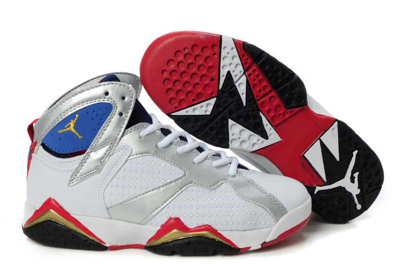 Special Womens Air Jordan 7 Retro Embroided White Silver Red Blue Shoes