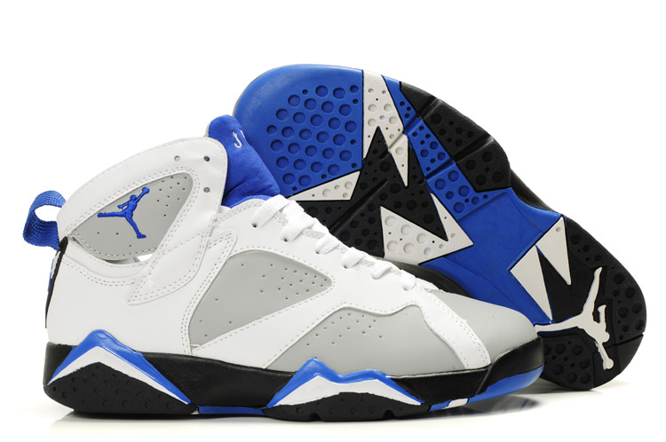 Special Womens Air Jordan 7 Retro White Grey Black Blue Shoes
