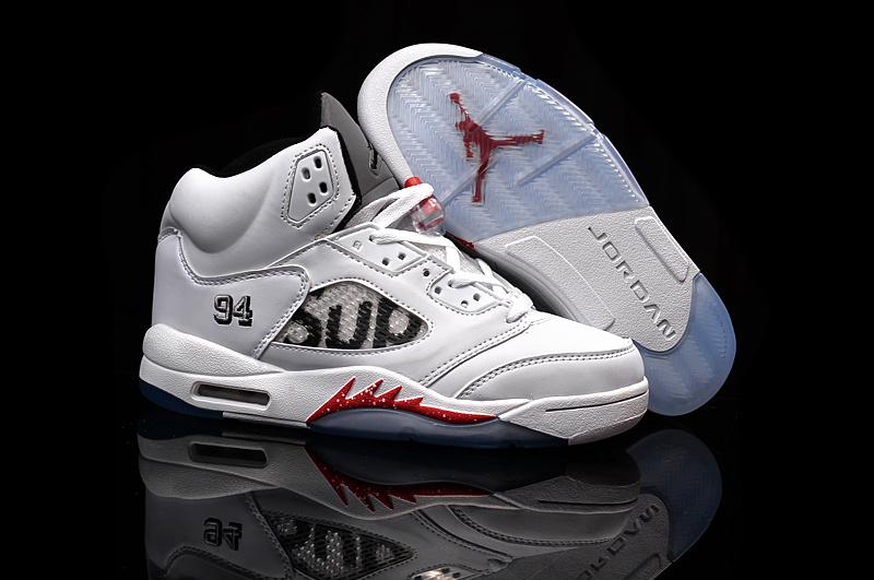 Supreme Air Jordan 5 Retro White Black Red Shoes