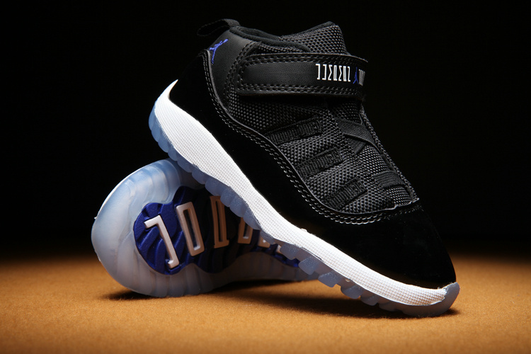 Toddlers Jordan 11 Black White Blue Sole Shoes