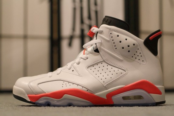 Top Leather Air Jordan 6 White Red Shoes