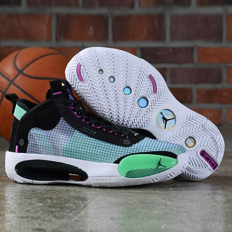 Women Air Jordan 34 Black Green Pink Shoes