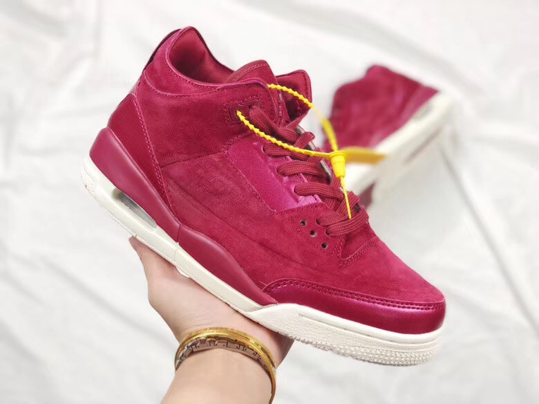 Women Air Jordan 3 Rose Wine Red Shoes