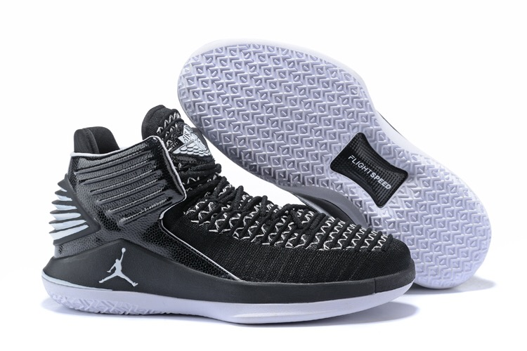 Women Jordan 32 Black Grey Shoes