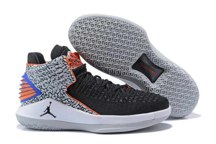 Women Jordan 32 Black Orange Grey Shoes