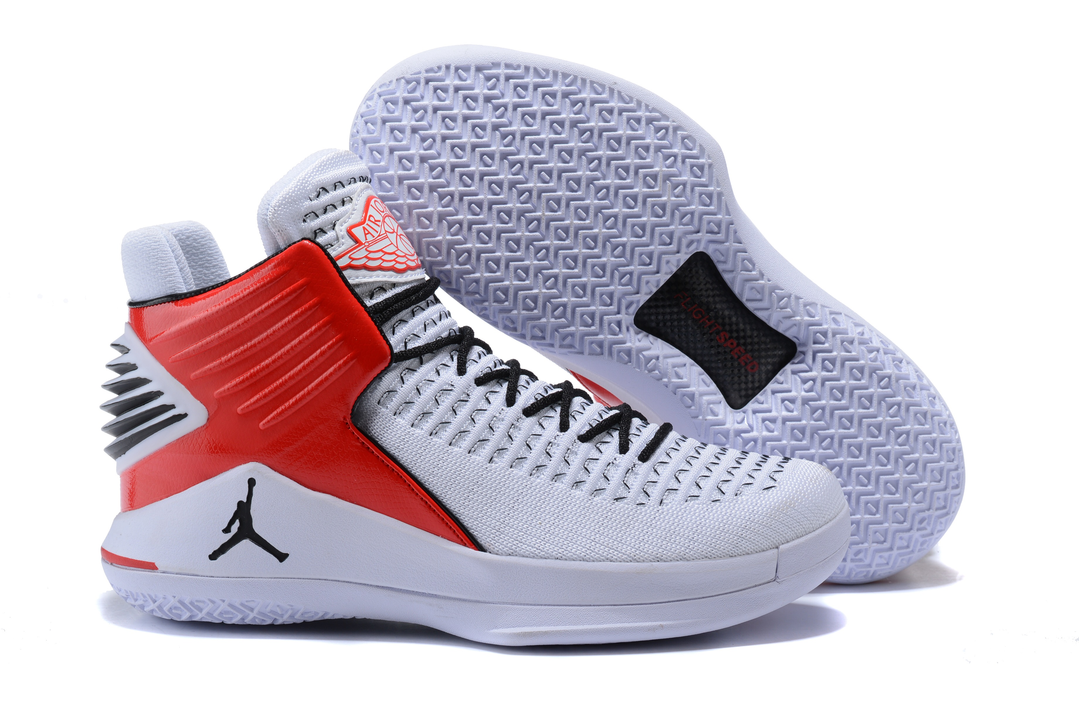 Women Jordan 32 White Red Black Shoes