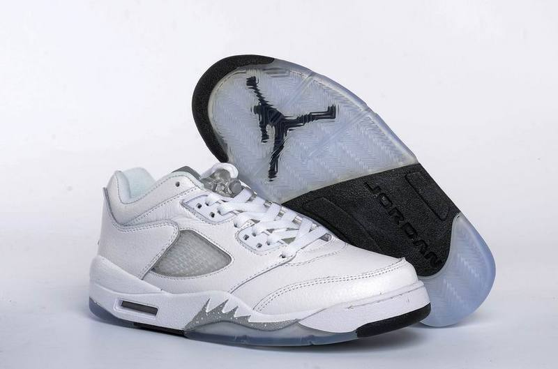 28bc5f2f3a02 Women Air Jordan 5 Low GS White Wolf Grey
