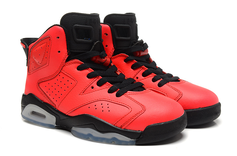 Women Air Jordan 6 Toro Infrared 23 GS Red Black Shoes