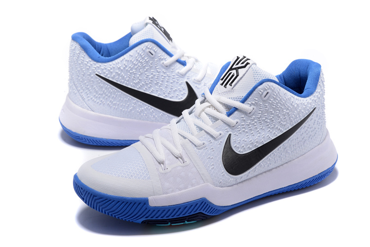 Women Nike Kyrie 3 White Blue Black Swoosh Shoes