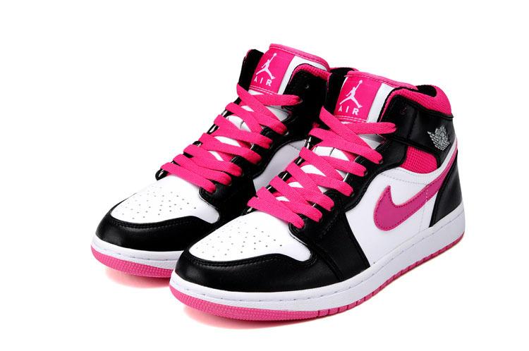 free shipping 2b8f4 68c23 Womens Air Jordan 1 Mid White Black Pink Shoes