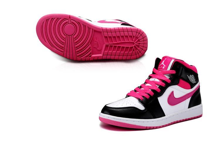 Authentic Womens Air Jordan 1 Mid White Black Pink Shoes For Sale de23483853
