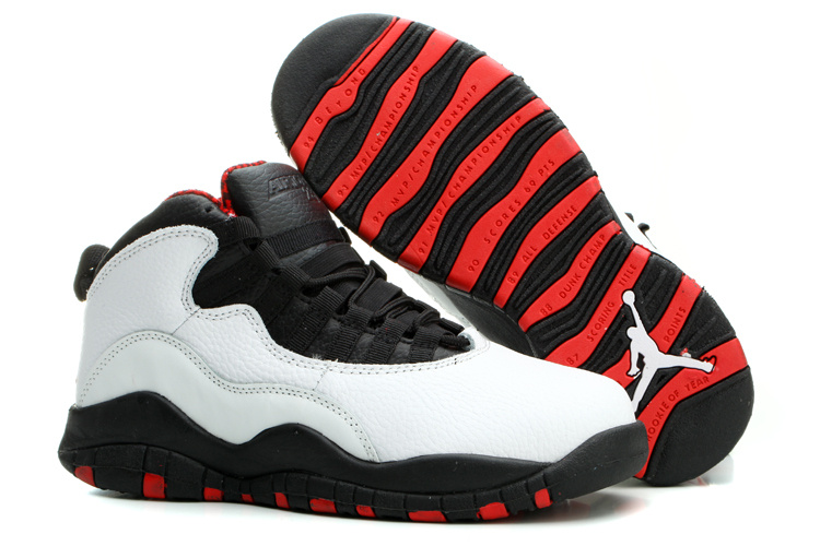 Womens Air Jordan 10 Retro White Black Red Shoes