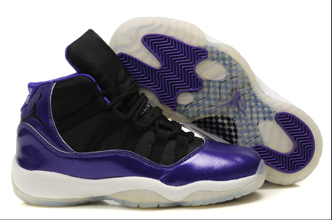 Womens Air Jordan 11 Retro Black Purple White Shoes