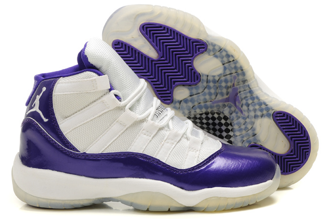 Womens Air Jordan 11 Retro White Purple Shoes