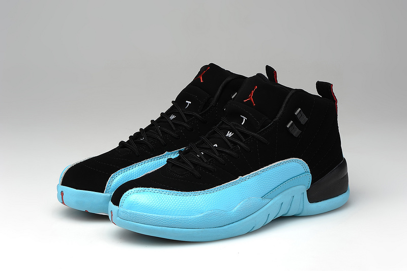 Womens Air Jordan 12 Black Baby Blue Shoes