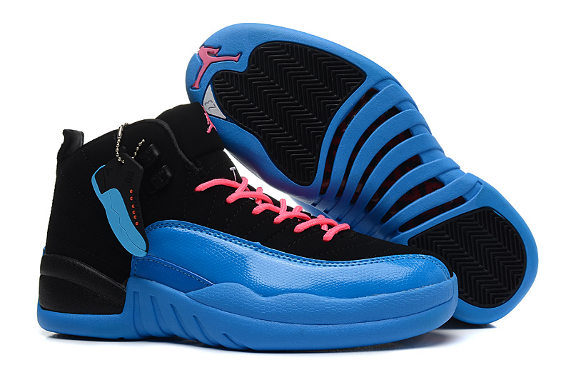 Womens Air Jordan 12 Retro Black Gamma Blue Pink Shoes