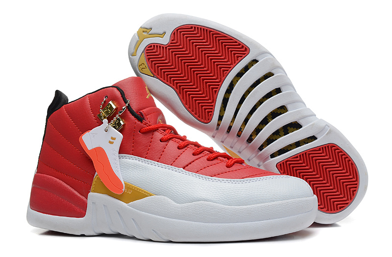 Womens Air Jordan 12 Retro Red White Yellow Shoes