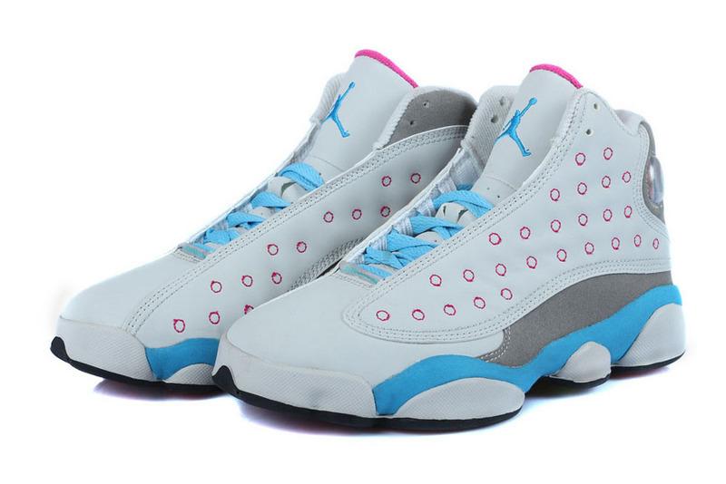 2b1e52a3c61 Authentic Womens Air Jordan 13 GS Miami Vice White Baby Blue Grey ...
