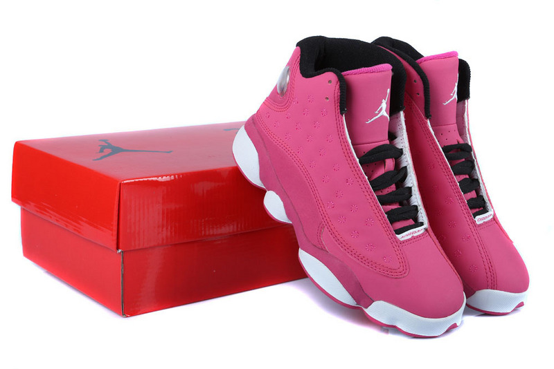 sports shoes e20a6 42499 Authentic Womens Air Jordan 13 GS Pink White Black Shoes For ...