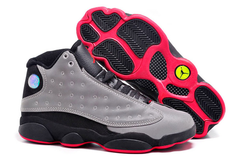 buying cheap new photos low price Authentic Womens Air Jordan 13 Retro Grey Black Red Shoes For Sale