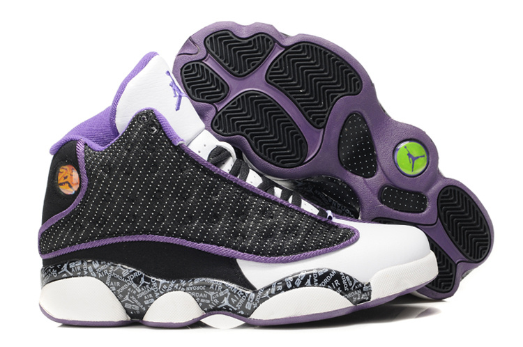 d004f464eaa9 Womens Air Jordan 13 Retro White Black Purple Shoes For Cheap Sale