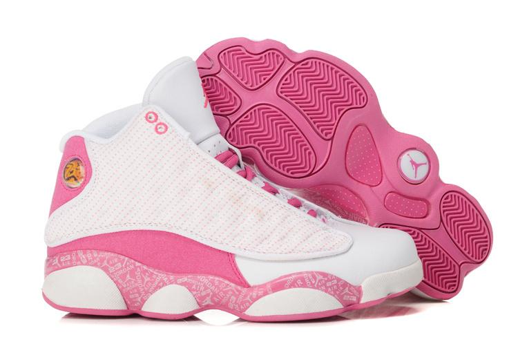 be7c1e6c21b3f3 Womens Air Jordan 13 Retro White Pink Shoes
