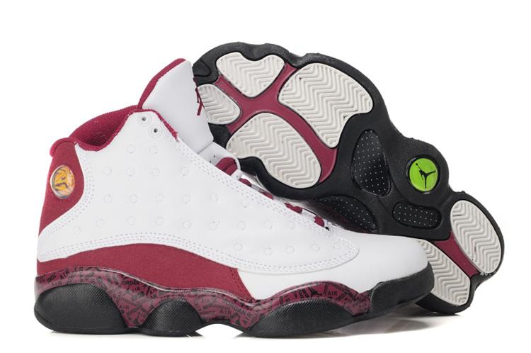 df4c300e139c Womens Air Jordan 13 Retro White Wine Red Black Shoes