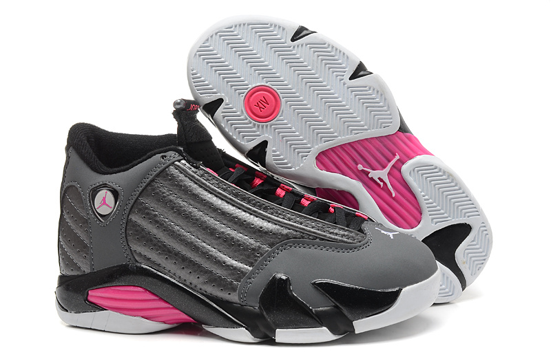 Womens Air Jordan 14 Retro Grey Pink Black Shoes