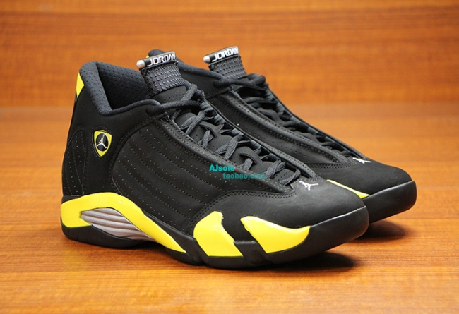 Womens Air Jordan 14 Retro Thunder Black Yellow Shoes