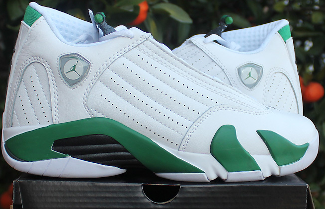 Womens Air Jordan 14 Retro White Green Shoes