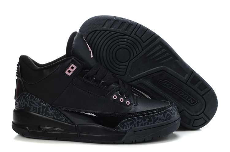 Womens Air Jordan 3 All Black In Pink Jumpman Shoes
