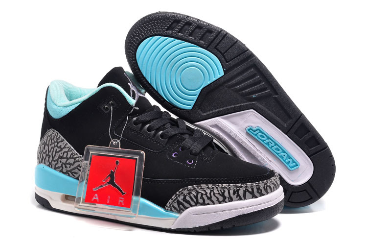 Womens Air Jordan 3 Retro Black Baby Blue Cement Grey Shoes