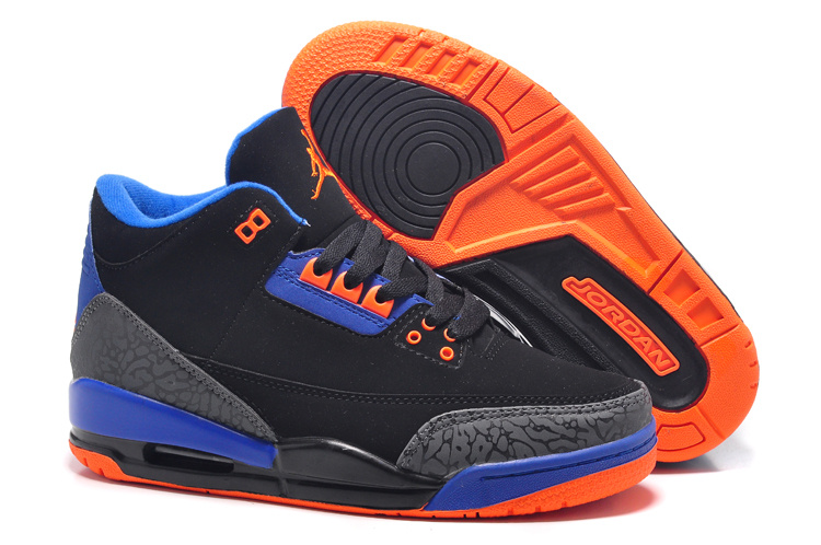 Womens Air Jordan 3 Retro Black Blue Orange Shoes