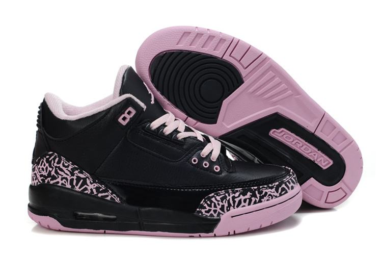 Womens Air Jordan 3 Retro Black Pink Cement Shoes