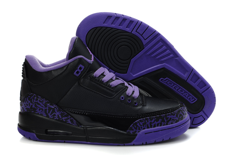 Womens Air Jordan 3 Retro Black Purple Shoes