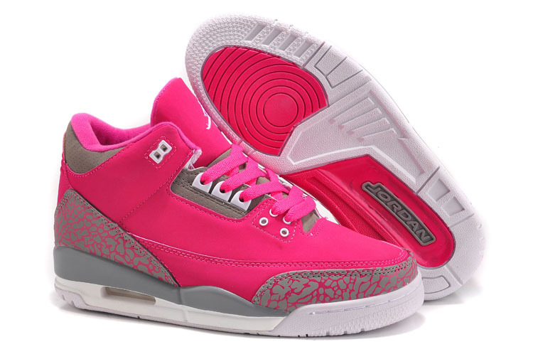 Womens Air Jordan 3 Retro Hot Pink Cement Grey Shoes