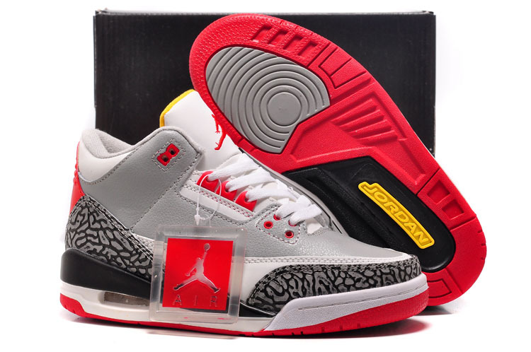 Womens Air Jordan 3 Retro White Red Grey Black Cement Shoes