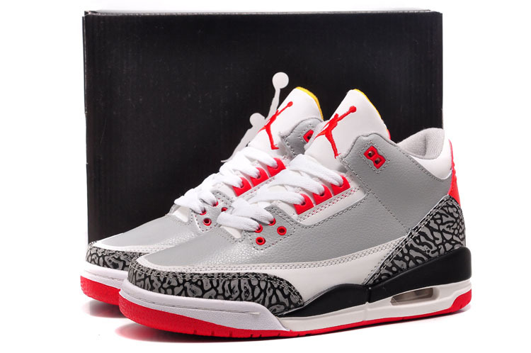 94b7d55d27f3 Womens Air Jordan 3 Retro White Red Grey Black Cement Shoes Online Sale