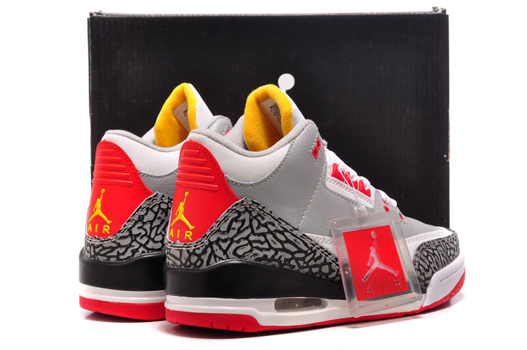 Womens Air Jordan 3 Retro White Red Grey Black Cement Shoes Online Sale 575c7b10c2
