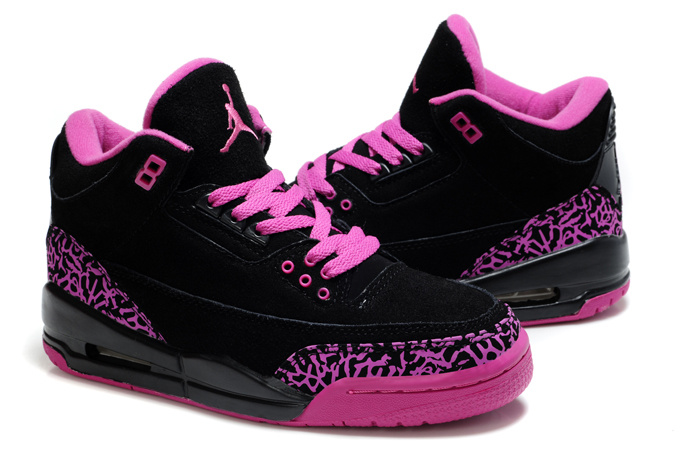 Womens Air Jordan 3 Suede Black Pink Cement Shoes