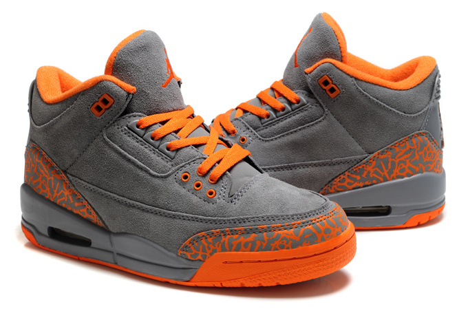 Womens Air Jordan 3 Suede Grey Orange Cement Shoes
