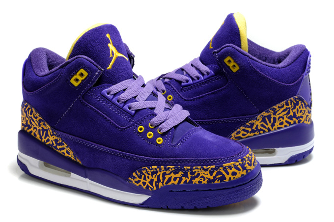 Womens Air Jordan 3 Suede Purple Yellow Cement Shoes