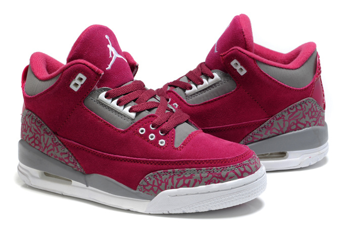Womens Air Jordan 3 Suede Red Grey Cement Shoes
