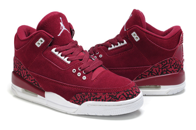 Womens Air Jordan 3 Suede Wine Red Cement Shoes