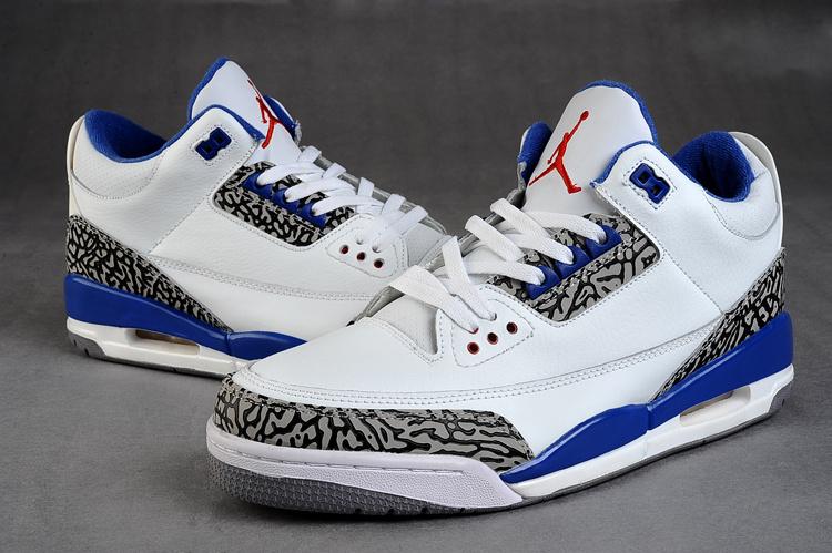 c5b63d8d313 Womens Air Jordan 3 White Cement Grey Blue Shoes Fast Shipping