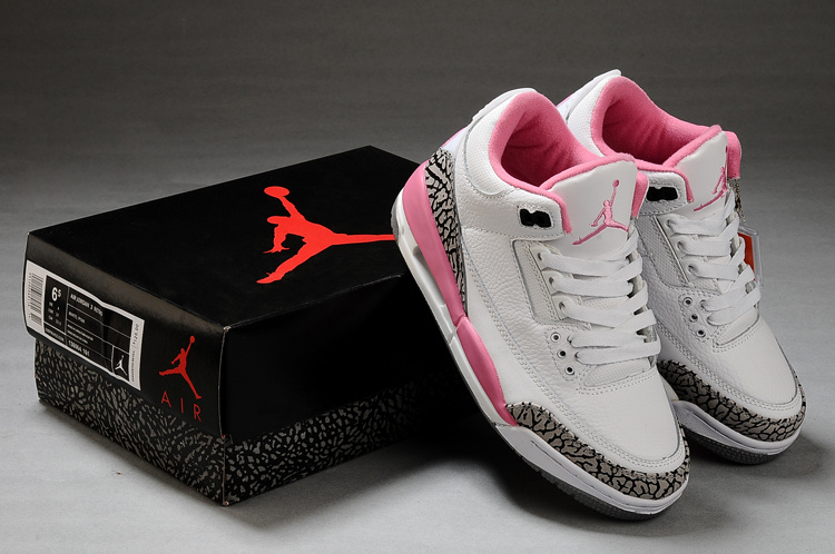 Womens Air Jordan 3 White Cement Grey Pink Shoes