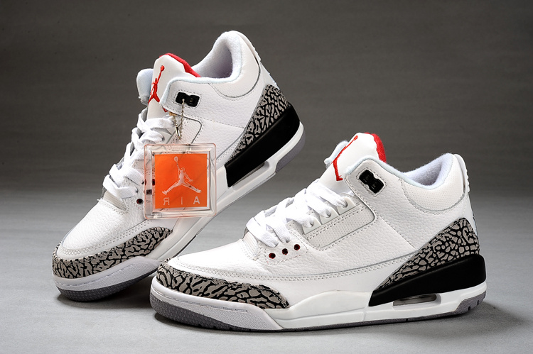 best sneakers 1c028 4e645 Womens Air Jordan 3 White Cement Grey Red Shoes