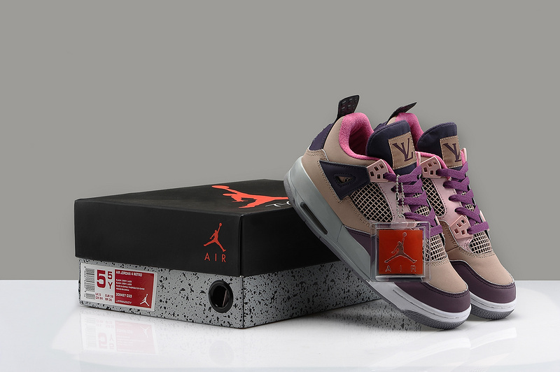 best website 8acb4 1f6d8 Womens Air Jordan 4 LV Coffe Wine Red Black Shoes