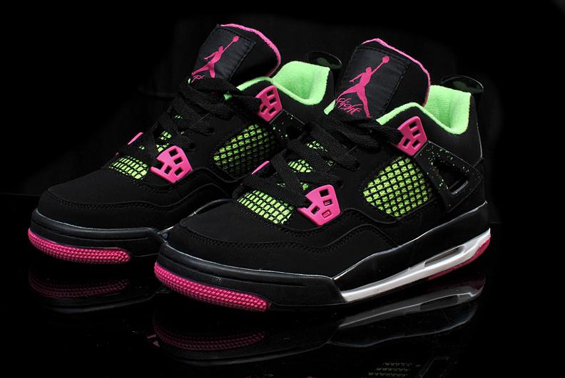 official photos a4026 502c1 Womens Air Jordan 4 Retro Black Rose Green Shoes