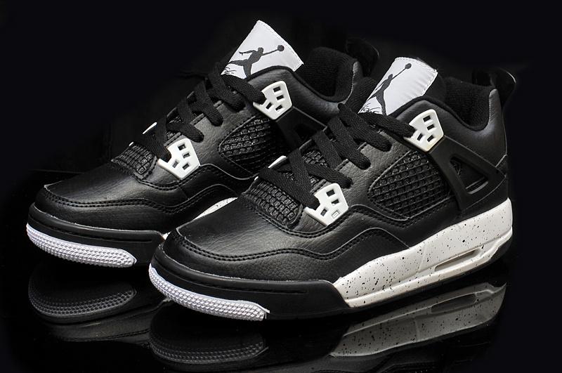 48d9b9ce496 Real Womens Air Jordan 4 Retro Black White Shoes For Cheap